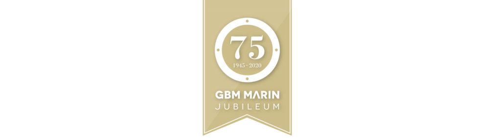 Jubileumslogotype GBM Marin 75 år